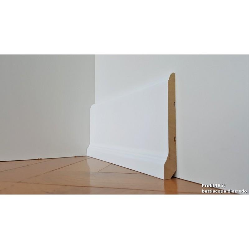 Battiscopa in legno alto sagomato saronno laccato bianco for Battiscopa in legno bianco