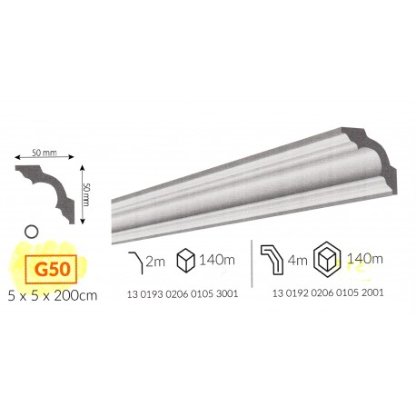 Profilo cornice da soffitto G50 in polistirene
