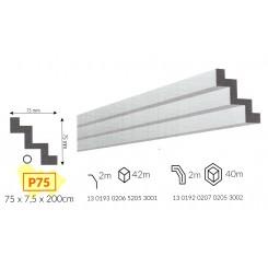 Profilo cornice veletta moderna da soffitto in polistirene DA TINTEGGIARE p75