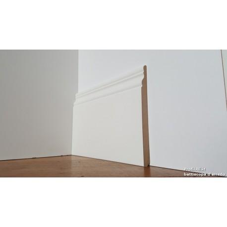 battiscopa alto 14 centimetri in mdf alto modanato ducale inglese bianco ral 9010