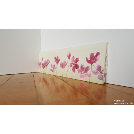 battiscopa in pvc idrorepellente decoro fiori rosa
