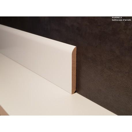battiscopa zoccolino legno massello laccato bianco mm70 x mm10 bordo tondo