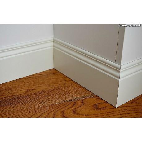 battiscopa legno alto sagomato ducale inglese 12 centimetri bianco ral 9010