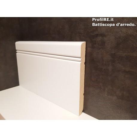 battiscopa Siena legno massello alto bianco alto 12 centimetri spessore 13 mm