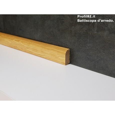 battiscopa Rovere massello basso 2 centimetri tondo verniciato