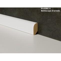 battiscopa bianco basso in legno basso massello tondo mm20x10