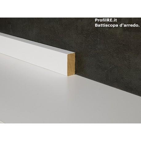 battiscopa in legno basso massello bordo quadro bianco mm20x10