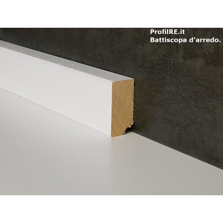 battiscopa in legno basso 3 cm bordo quadro bianco spessore mm15