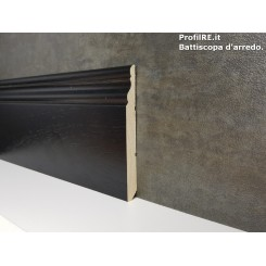 Battiscopa alto inglese in legno laccato nero mm100x13