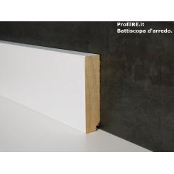 battiscopa zoccolino alto 6 cm in legno massello laccato bianco