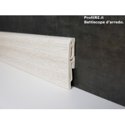 battiscopa in pvc idrorepellente Rovere bianco antiumidità mm70x16