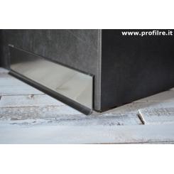 Battiscopa alto in alluminio effetto titanio lucido mm100x11
