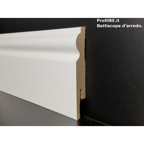 battiscopa bianco in mdf Milano alto sagomato alto 11 centimetri