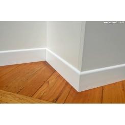 battiscopa zoccolino economico bianco in legno massello mm70x7