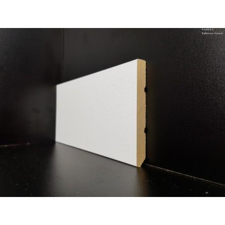 battiscopa laccato bianco legno massello bordo squadrato 8 centimetri