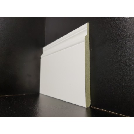 battiscopa in mdf alto antiumidità ducale inglese bianco mm 120 x mm9 idrofugo 9016