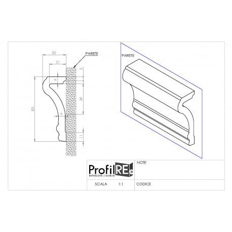 Profilo bianco mezzo muro prc430 mm80 extra resistente tecnico