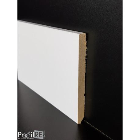 battiscopa in legno zoccolino bianco alto con bordo quadro 10 centimetri