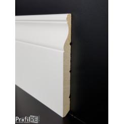 battiscopa sagomato Aosta legno laccato bianco alto 14 centimetri poro chiuso