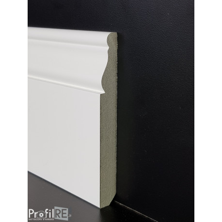 battiscopa Liguria in mdf anti umidità alto sagomato long bianco alto 12 centimetri