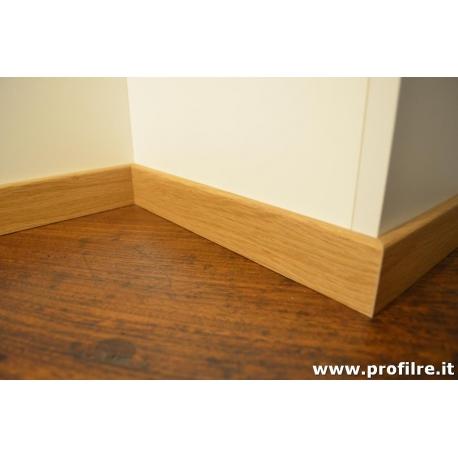 battiscopa in legno basso Rovere bordo quadro 5 cm spessore mm13