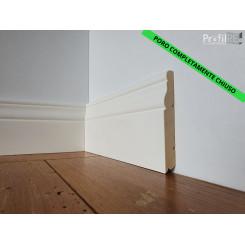 Battiscopa sagomato poro chiuso in legno massello laccato bianco ducale long mm100 CON BANDA