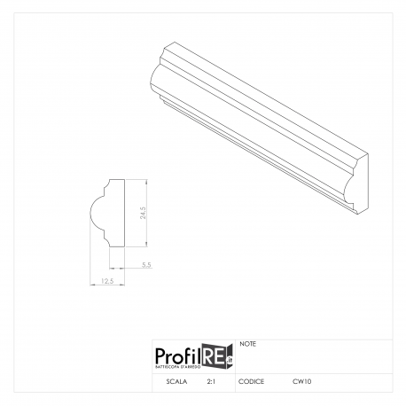 Profilo bianco cornice parete modanatura SB 2 cm extra resistente pronto all'uso