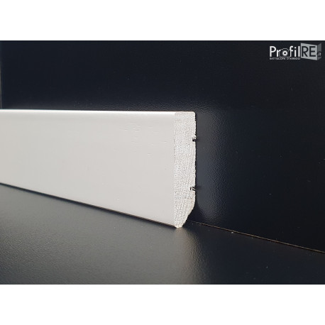 battiscopa basso ral 1013 in legno massello bordo quadro mm 40
