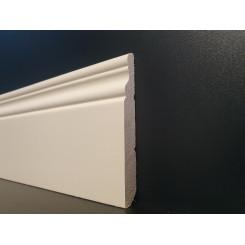 Battiscopa inglese ducale alto 10 cm in legno massello aste lunghezza cm 305 poro semi chiuso colore bianco ral 1013