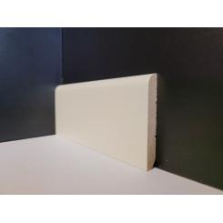 battiscopa zoccolino legno massello bianco RAL 1013 da 7 centimetri tondo spessore mm 10