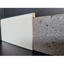 Mini coprizoccolo coprimarmo legno verniciato bianco altezza mm 90 spessore esterno di soli 15 mm