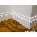 Battiscopa legno verniciato bianco ducale inglese alto 14 centimetri