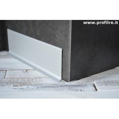 Battiscopa alluminio di 8 centimetri satinato spessore mm 11 di base