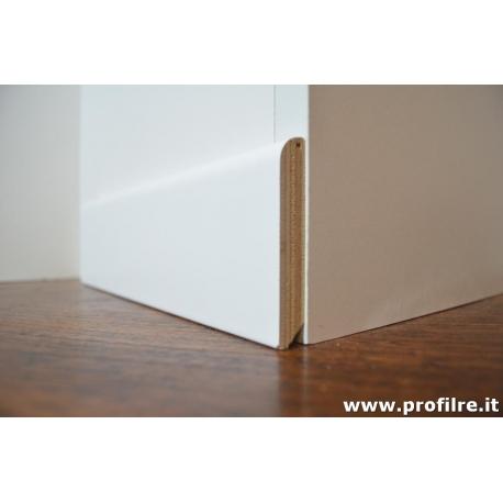 Battiscopa zoccolino in legno bianco alto cm7,5x1
