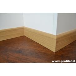 battiscopa zoccolino alto in legno massello bordo stondato rovere verniciato 10 cm
