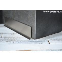 battiscopa basso in alluminio titanio spazzolato 6 centimetri